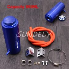 800ml Overflow Catch Tank Radiator Coolant Tank Bottle Header kit Aluminum Blue