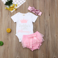 3PCS Newborn Baby Girl Summer Clothes Tops Romper+Tutu Shorts Pants Outfit Set