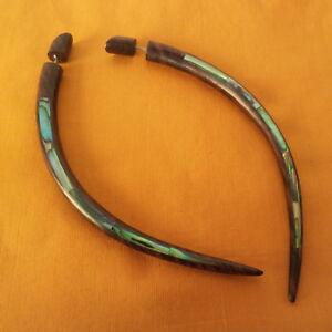 "Abalone Inlay 4.5"" Wood Taper Split Gauge Earring Fake Plug Gothic Jewelry Gift"