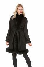 Real Fox Fur Trim Cashmere Coat for Women Black - Tulip Hem