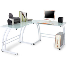 Modern Glass Top Computer Desk Corner L-Shaped Home Office Gaming Furniture Whte