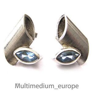 Art Deco Stil Silber Ohrringe Ohrstecker blau Topas 925 silver earrings blue
