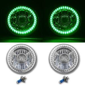 "7"" Halogen Green SC LED Halo Angel Eye Projector Headlight Light Lamp Bulb Pair"