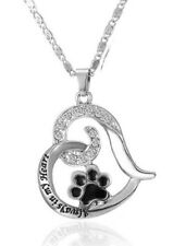 Heart' Pendant Necklace Cat Dog Paw Print New Pet Memorial Loss 'Always In My