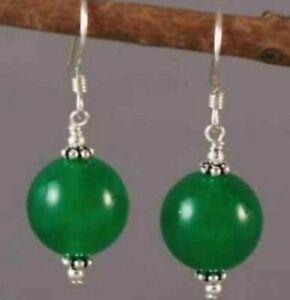 Fashion 10mm Green Jade Round Beads Silver Hook Earrings AAA