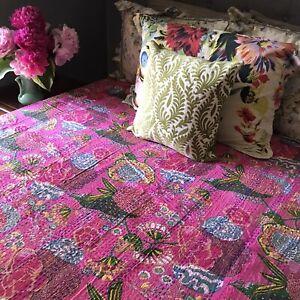 Boho Chic Decor Twin Kantha Bedding Bedspread Vintage Kantha Quilt Handmade Indian Kantha Throw Blanket Boho Quilt Coverlet VTG07