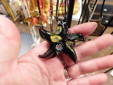 Necklace Hand Blown Glass Starfish Flowers Black 3D Organza Ribbon