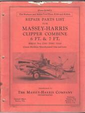 REPAIR PARTS MANUAL for MASSEY - HARRIS CLIPPER COMBINE 6ft & 7ft