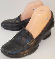 SOFFT Womens Shoes Penny Loafers US 8.5 M Black Leather Slip-On Wedge 651