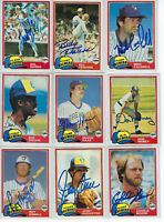 (9) 1981 Milwaukee Brewers signed cards Topps AUTO lot Ben Oglivie Moore Bando