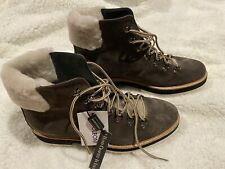 Womens Napoleoni 3432 Brown Suede Shearling Real Fur Leather Ankle Boots 38 US 8