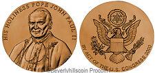 Pope John Paul II Bronze Medal US Mint Velvet Case