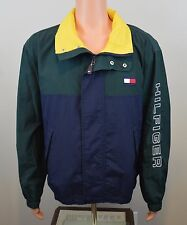 VTG 1990s Tommy Hilfiger Windbreaker Green Blue Yellow Inside Spell Out Large