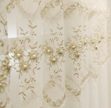 Pearl Embroidery Tulle for Living Room White Sheer Voile Lace Window Screening
