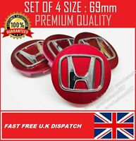 HONDA ALLOY WHEEL CENTRE CAPS 69mm RED FIT ACCORD CRV CIVIC TYPE R