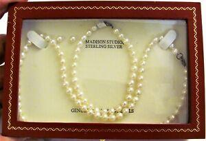 Cultured 5mm Pearl Set Necklace Bracelet Earrings Sterling Silver Madison Studio
