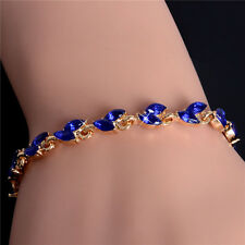 Gorgeous 18K Gold Plated Chain Bracelet Delicate Sapphire Cubic Zirconia Jewelry