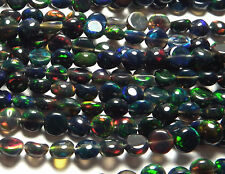"8"" Strand ETHIOPIAN BLACK OPAL Welo 4-5mm Coin Beads /c2"