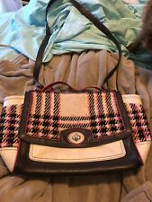 Coach Messenger Bag Colorblock Plaid Wool And Leather