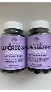 Country Farms Black ELDERBERRY Gummies +Vitamin C Zinc 60 Gummies x 2 EXP 6/2022