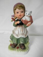 Vintage Brinn's Young Girl w/ White Kitten in Basket Porcelain Figurine 3T-2499
