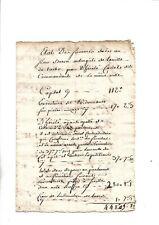 Circa 1780. Tarbes. Sommes dues à Baron aubergiste par Cadet dit Commandant. RRR