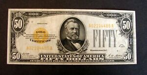 1928 $50 DOLLAR GOLD CERTIFICATE SMALL SIZE NOTE WOODS / MELLON NO PIN HOLES