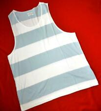 "All Saints Rare ""Eltan Vest"" Striped T-Shirt Top Blue White Grey M Medium"