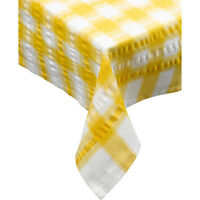 Yellow Seersucker Checked Tablecloth 100 % Cotton