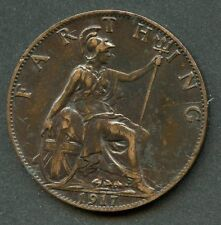 GREAT BRITAIN 1917 FARTHING  COIN  YOU DO THE GRADING