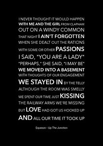 Squeeze - Up The Junction - Black Song Lyric Art Poster - A4