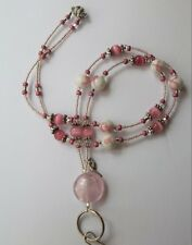 *Breast Cancer Awareness* Beaded Lanyard, ID Name Badge Holder, Pink, Magnetic