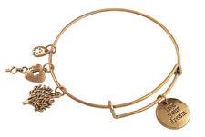 1PCS Antiqued Gold Expandable Wire Bangle Live Your Dream Charm Bracelet
