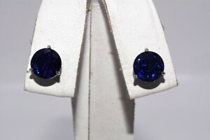 $1,000 3.60CT NATURAL ROUND CUT BLUE SAPPHIRE MARTINI-SET STUD EARRINGS PLATINUM