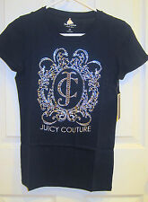 NWT JUICY COUTURE Women Ornate JC Crew Logo Tee T Shirt Regal Navy S Cotton