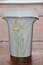 Vintage Porcelain Yellow Iris Vase with Gold Trim - Beautiful