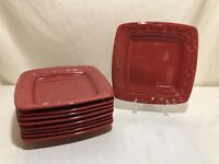 Longaberger Pottery Woven Traditions Tomato Red Square Luncheon Plate EUC