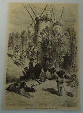 1882 magazine engraving ~ THISTLES IN LAND OF DON QUIXOTE, children + windmills