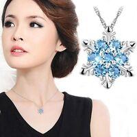 Beautiful women Blue Crystal Snowflake Flower Silver Necklace Pendant