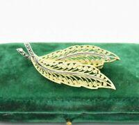 Vintage .800 silver brooch pin Filigree leaf Enamel Art Nouveau statement #N311