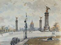 PARIS PLACE. AQUARELLE SUR PAPIER. SIGNÉ A. GUERIN. VERS 1940.