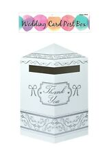 Wedding Gifts Thank You Card Post Box Mailbox White + Silver Quick Despatch BNIP
