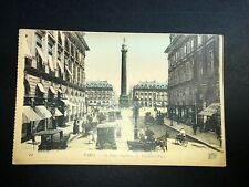 Antique Early 1900's Postcard Paris Vendome Place Hand Water Colored Early Cars