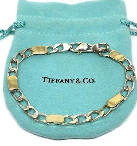 "Tiffany & Co. 18k Gold Sterling Silver 5mm Wide Curb Link Chain Bracelet 7.5"""