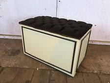 Vintage 1970's Cream Ottoman Storage Box with Brown Material Top on Wheels