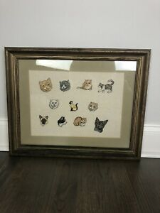 Vintage Needlepoint Cats Framed Weird Awkward Funny Angry Cat Lady Daddy