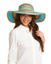NWT BIG BUDDHA striped straw floppy sun summer beach hat wide brim metallic