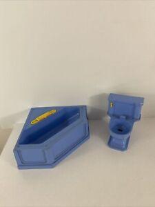 Ideal Young Decorator vintage dollhouse yellow/blue bath Tub Toilet plastic 1:10