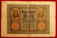WEIMAR REPUBLIC - Used 100 Mark note - issued by Reichsbank in November 1920