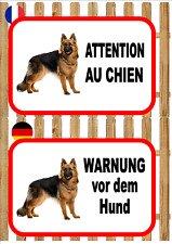 German Shepherd  Beware of the Dog Sign ATTENTION AU CHIEN WARNUNG VOR DEM HUND